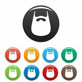 Smooth Beard Icon. Simple Illustration Of Smooth Beard Vector Icons Set Color Isolated On White poster