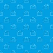 Monitor With Cardiogram Pattern Vector Seamless Blue Repeat For Any Use poster