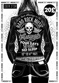 Hard Rock Festival Poster. Rocker Girl In A Leather Biker Jacket. poster
