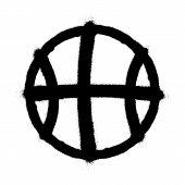 Sprayed Basketball Icon. Graffiti Overspray In Black Over White. Vector Graffiti Art Illustration. poster