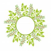 Wreath Frame With Place For Text With Green Branches Of Leaves And Berries, Deciduous Swamp Holly Sp poster