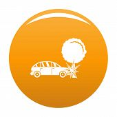 Crashed Tree Icon. Simple Illustration Of Crashed Tree Vector Icon For Any Design Orange poster