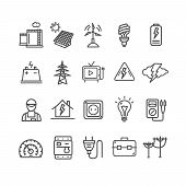 Electricity Signs Black Thin Line Icon Set Include Of Lightning, Engineer, Sun, Wind And Lamp. Vecto poster