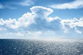 Seascape Of A Baltic Sea With Very Distant Ship Silhouettes Against Blue Sky And Beautiful Clouds poster