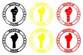 Постер, плакат: Made In Benin Rubber Stamp Vector Benin Map Pattern Black Yellow And Red