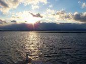 stock photo of burlington  - Sunset over Lake Champlain in Burlington VT - JPG