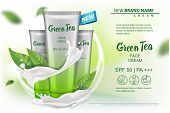 Cosmetics Product With Green Tea Extract Advertising For Catalog, Magazine. Vector Mock Up Of Cosmet poster