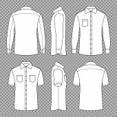 Casual Mans Blank Outline Shirts With Short And Long Sleeves In Front Back And Side Views. Vector Te poster