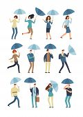 Cartoon People With Umbrella In Rainy Day. Man And Woman In Raincoat Under Rain Vector Flat Characte poster
