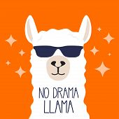 White Llama With Sunglasses And Lettering. No Drama Llama. Motivational Poster For Prints. Vector Il poster