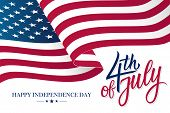 Happy 4th Of July United States Independence Day Celebrate Banner With Waving American National Flag poster