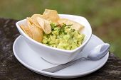 Avocado Guacamole With Tortilla Chips In A White Bowl, Close Up poster