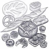Bread Products Set - Rye Bread, Ciabatta, White Bread, Whole-grain Bread, Croissant, French Baguette poster