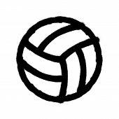 Sprayed Volleyball Icon. Graffiti Overspray In Black Over White. Vector Graffiti Art Illustration. poster
