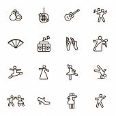 Dancing Signs Black Thin Line Icon Set Include Of Couple, Guitar, Singer And Pointes. Vector Illustr poster