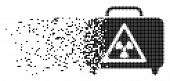 Dispersed Dangerous Luggage Dot Vector Icon With Erosion Effect. Rectangular Cells Are Arranged Into poster