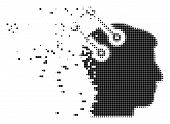 Dispersed Neural Interface Connectors Dotted Vector Icon With Wind Effect. Square Pieces Are Arrange poster