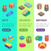 Cartoon Present Boxes Banner Vecrtical Set Packaging Holiday Gift Concept Flat Design Style. Vector  poster