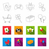 Stroller, Windmill, Lego, Balloons.toys Set Collection Icons In Outline, Flat Style Vector Symbol St poster