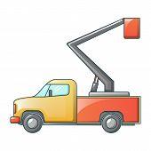 Mini Truck Crane Icon. Cartoon Of Mini Truck Crane Vector Icon For Web Design Isolated On White Back poster