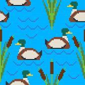 Drake Pixel Art Pattern. Pond 8bit Of Texture. Waterfowl Bird Background. Vector Illustration poster