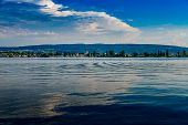 Evening Shot Of Reicheanau At Lake Constance With Nice Mirroring Waves poster