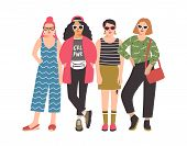 Four Young Women Or Girls Wearing Stylish Clothing Standing Together. Group Of Female Friend, Femini poster