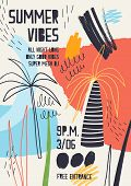 Colorful Invitation Or Poster Template Decorated With Tropical Palm Trees, Paint Stains, Blots And S poster