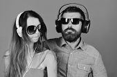 Caraoke Or Dj Music Song. Man With Beard And Girl Sing On Blue Background. Couple In Love Wears Head poster