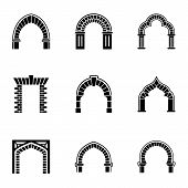 High Arch Icons Set. Simple Set Of 9 High Arch Vector Icons For Web Isolated On White Background poster