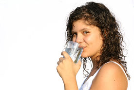 pic of drinking water  - healthy young woman drinking glass of water - JPG