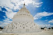 Beautiful Hsinbyume Pagoda (mya Thein Dan) Or Called Taj Mahal Of Irrawaddy River, Is A Large White  poster