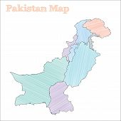 Pakistan Hand-drawn Map. Colourful Sketchy Country Outline. Vector Illustration. poster