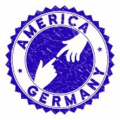 Connecting America Germany Stamp Seal. Blue Vector Rounded Grunge Seal Stamp With Connecting Hands F poster