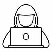Hacker Hood Icon. Outline Hacker Hood Vector Icon For Web Design Isolated On White Background poster