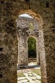 Church Arcs, Framed View. Beautiful Warm Spring Day And Archeological Ruins At Butrint National Park poster