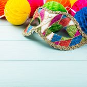 Festive Blue Background With Colorful Carnival Mask And Peper Balls. Greeting Card Concept Voor Birt poster