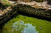Building Ruins With Water Turtles Under Sunlight. Beautiful Warm Spring Day And Archeological Ruins  poster