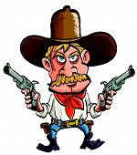stock photo of wrangler  - Cartoon cowboy with his guns drawn - JPG