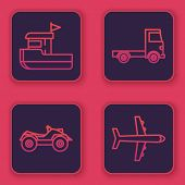 Set Line Fishing Boat, All Terrain Vehicle Or Atv Motorcycle, Delivery Cargo Truck Vehicle And Plane poster