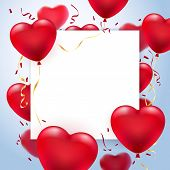 Greetings Card Frame With Heart Balloons. Valentines Greeting Poster With Glow Hearts And White Empt poster
