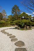 picture of stepping stones  - bright sunny day in zen garden Tokyo Japan - JPG