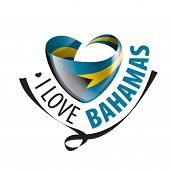 National Flag Of The Bahamas In The Shape Of A Heart And The Inscription I Love Bahamas. Vector Illu poster