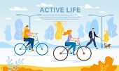 Happy Business People Riding Bikes Active Life Poster. Cycle To Work Day. Office Workers Cycling Out poster