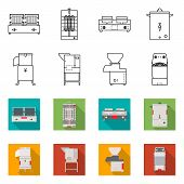 Vector Design Of Domestic And Appliances Sign. Collection Of Domestic And Furniture Vector Icon For  poster