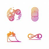 Set Line Skateboard Trick, Bicycle On Street Ramp, Bicycle Trick And Climber Rope. Gradient Color Ic poster