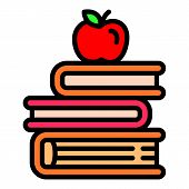 Apple On Books Stack Icon. Outline Apple On Books Stack Vector Icon For Web Design Isolated On White poster