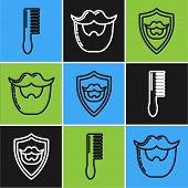 Set Line Hairbrush, Mustache And Beard On Shield And Mustache And Beard Icon. Vector poster