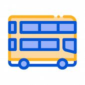 Public Transport Double-decker Bus Vector Icon Sign Thin Line. Double-decker Motor-bus, Urban Passen poster