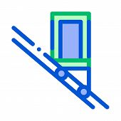 Public Transport Inclined Elevator Vector Icon Thin Line. Inclined Elevator Machine, Urban Passenger poster